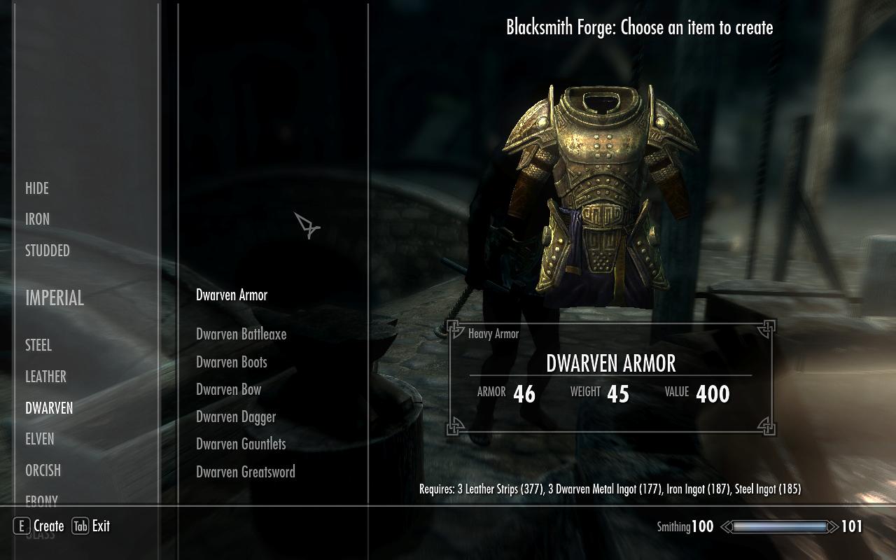 Dwarven Armor Crafting